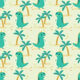 Schattig dinosaurus naadloze patroon.