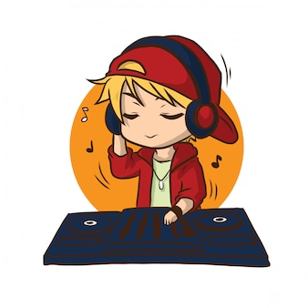 Schattig disc jockey cartoon., baan concept.
