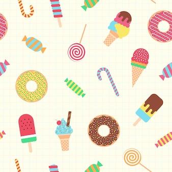 Schattig donat, ijs en snoep naadloze patroon