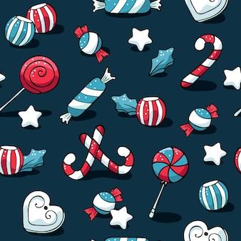 Schattig doodles kerst elementen patroon met snoep