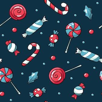 Schattig doodles kerst snoep patroon