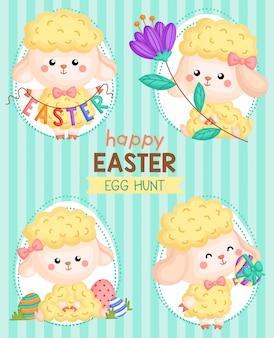 Schattig easter egg sheep card