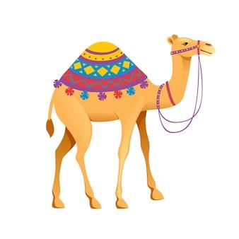 Schattig een bult kameel met hoofdstel en zadel cartoon dier ontwerp platte vectorillustratie geïsoleerd op een witte achtergrond.