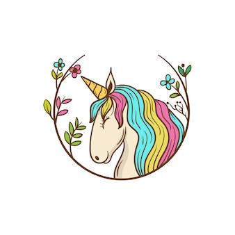 Schattig eenhoorn paard met bloemen frame illustratie