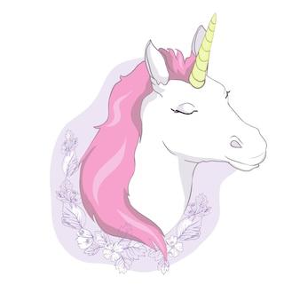 Schattig eenhoornhoofd. magisch karakter met roze manen