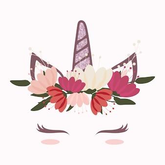 Schattig eenhoornhoofd met mooie bloemkroon