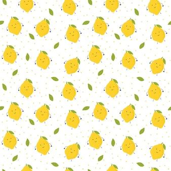 Schattig eenvoudig patroon met citroenen kawaii-stijlpatroon