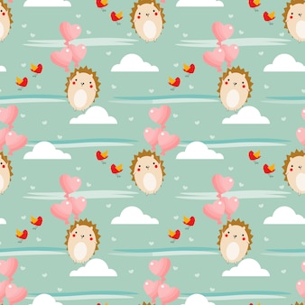 Schattig egel en hart ballon naadloze patroon.