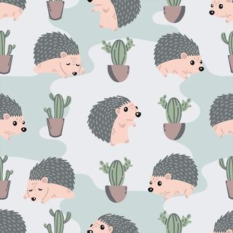 Schattig egel naadloos patroon