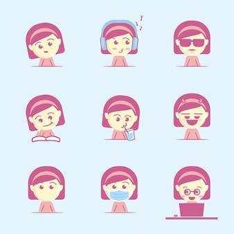 Schattig en cool meisje gezicht pictogrammenset, platte cartoon stijl