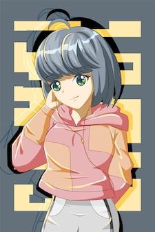 Schattig en cool meisje met jas ontwerp karakter cartoon afbeelding