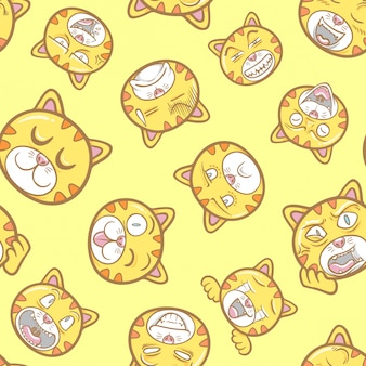 Schattig en grappig huisdier kat emoticons illustratie patroon naadloos