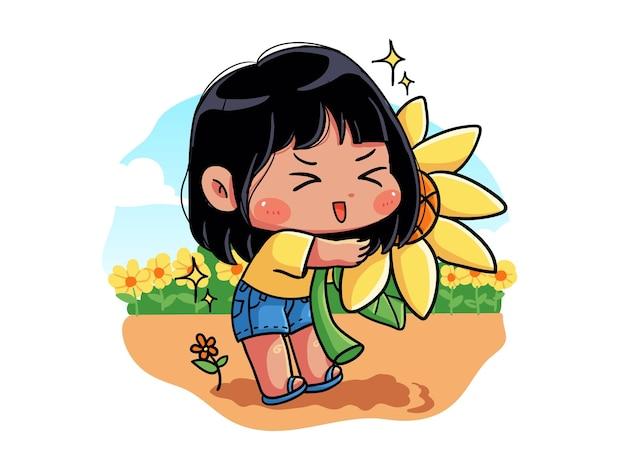 Schattig en kawaii meisje knuffelt een zonnebloem want de zomer komt eraan chibi