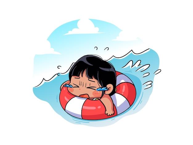 Schattig en kawaii summer girl wordt meegesleept door de stroming op de boei en weet niet hoe chibi swim moet zwemmen