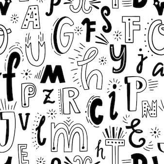 Schattig engels handgeschreven alfabet, vintage vector naadloze patroon. kleine letters en hoofdletters, prima voor kaart, belettering, poster