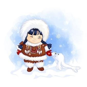 Schattig eskimo meisje in nationale klederdracht begroet een kleine witte zeehond.