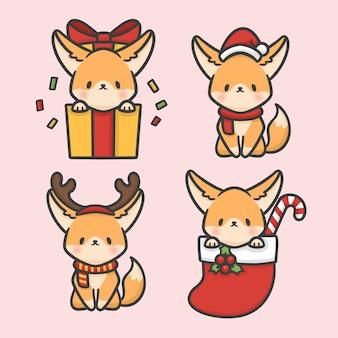 Schattig fennec fox instellen kostuum kerst hand getekend cartoon vector
