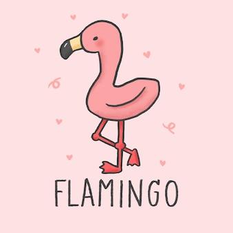 Schattig flamingo cartoon hand getrokken stijl