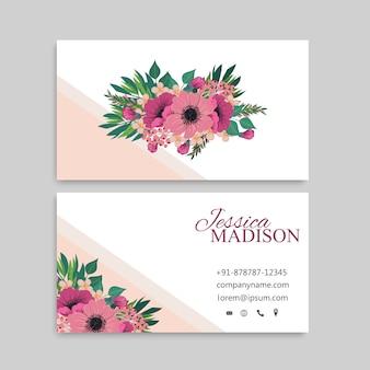 Schattig floral patroon visitekaartje naam kaart ontwerpsjabloon