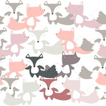 Schattig fox cartoon naadloze patroon