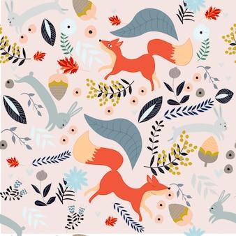 Schattig fox en konijn naadloze patroon