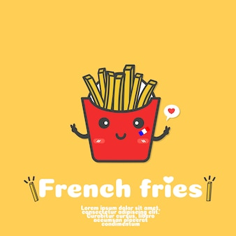 Schattig franse frietjes cartoon vector. kawaii eten concept.