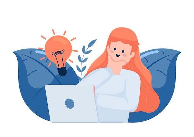 Schattig freelance meisje heeft een nieuw idee tijdens het werken met een laptop. bedrijfsideeconcept.