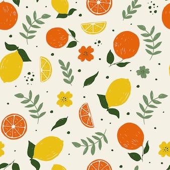 Schattig fruit naadloos patroon printontwerp donkere achtergrond vector illustratie ontwerp voor mode fa