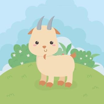 Schattig geit dier boerderij karakter