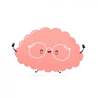 Schattig gelukkig menselijk brein. cartoon karakter illustratie pictogram ontwerp. geïsoleerd