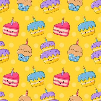Schattig grappig kawaii verjaardagstaart naadloos patroon. voedselfeest.