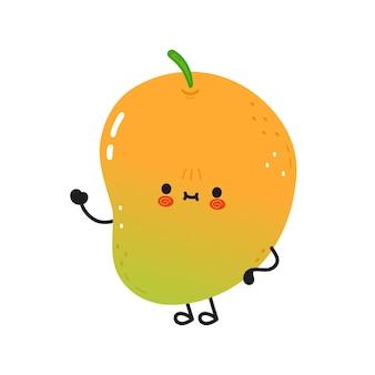 Schattig grappig mango zwaaiend handkarakter