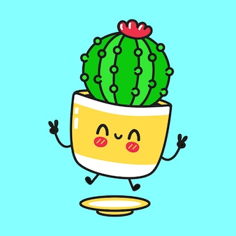 Schattig grappig springend cactuskarakter