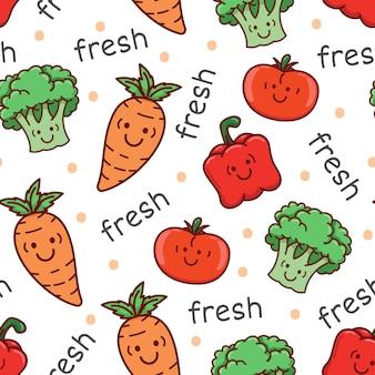 Schattig groenten cartoon naadloze patroon