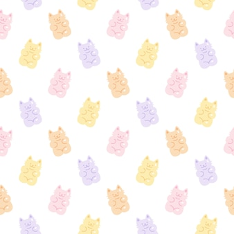 Schattig gummy kat gelei snoep naadloze patroon