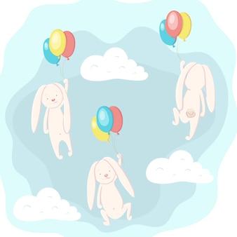 Schattig haas en konijn vliegen in de lucht op ballonnen