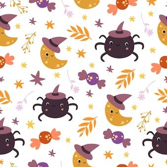 Schattig halloween naadloos patroon met maan en spin