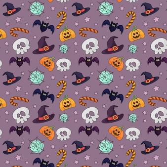 Schattig halloween-patroon met schedel en hoeden