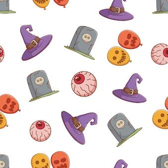 Schattig halloween pictogrammen naadloze patroon met oog bal heks hoed halloween ballonnen en grafsteen