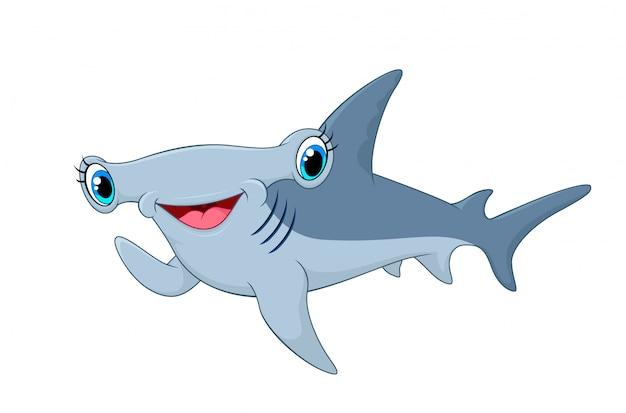 Schattig hammerhead shark zwaaiende hand