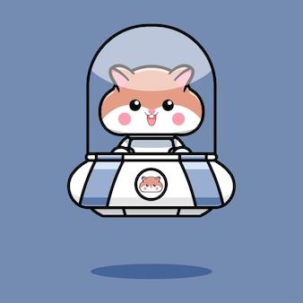 Schattig hamsterontwerp met ufo