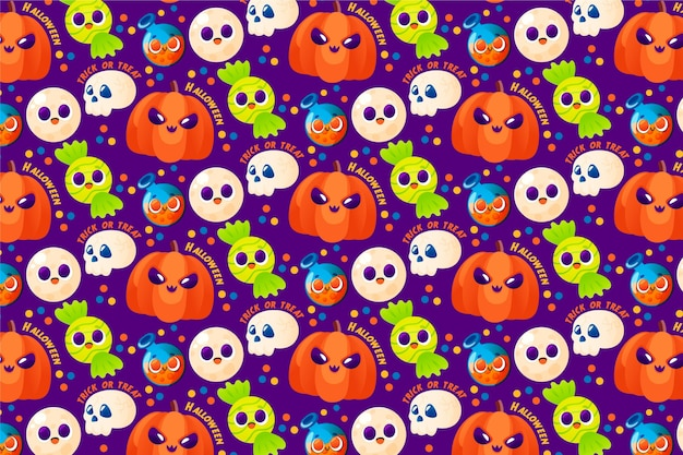 Schattig hand getekend halloween patroon