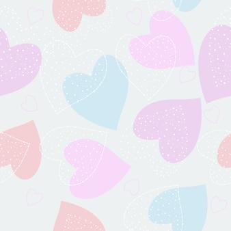 Schattig hand getekend hart naadloze patroon achtergrond