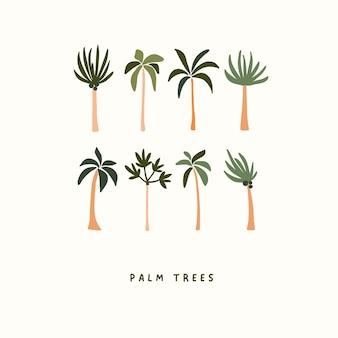Schattig hand getekend kleine zomer palmbomen geïsoleerd op een witte achtergrond. zomer iconen vector illustratie in platte hand getrokken doodle stijl