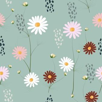 Schattig hand getrokken bloemen naadloze patroon achtergrond