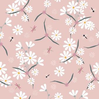 Schattig hand getrokken bloemen naadloze patroon