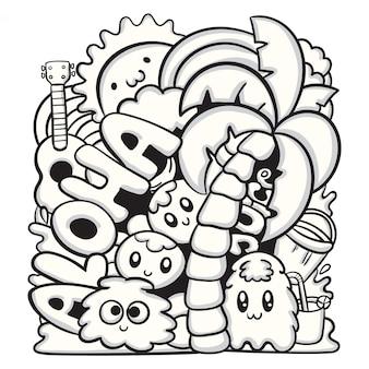 Schattig hand getrokken doodle monster