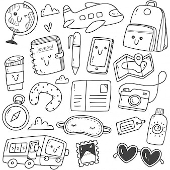 Schattig hand getrokken reizen doodles kawaii lijntekeningen
