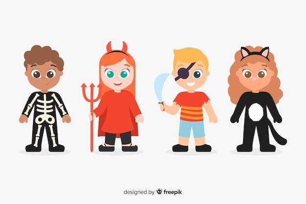 Schattig hand getrokken van halloween kind collectie
