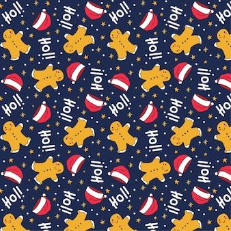 Schattig handgetekend kerst naadloos patroon op blauwe achtergrond